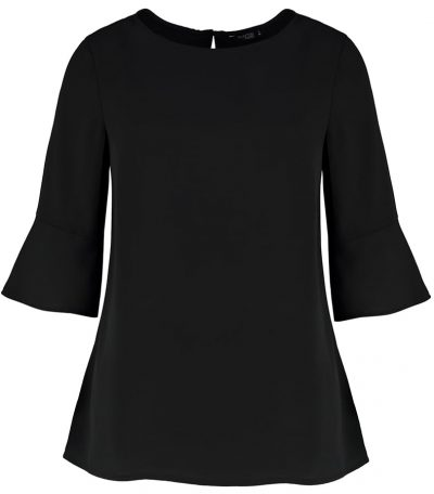 Women's fluted sleeve top (regular fit) - Black - Clayton & Ford