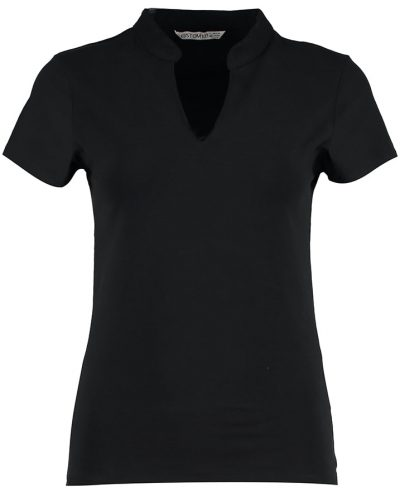 Women's corporate short sleeve top v-neck mandarin collar - Black - Kustom Kit