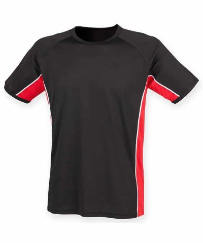 Performance panel t-shirt - Black/Red/White - Finden & Hales