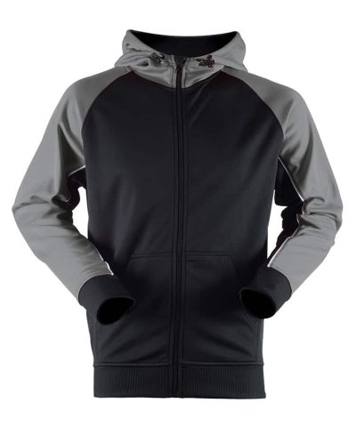 Panelled sports hoodie - Black/Gun Metal Grey/White - Finden & Hales