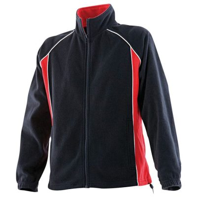 Women's piped microfleece jacket - Black/Red/White - Finden & Hales