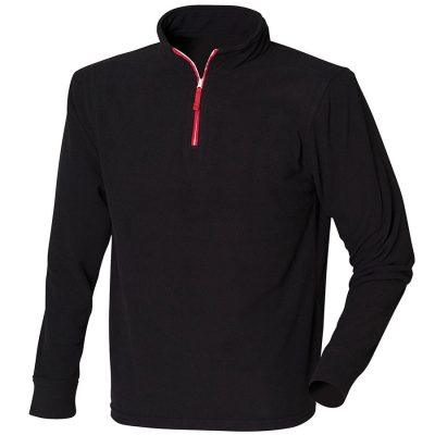 zip long sleeve fleece piped - Black/Red/White - Finden & Hales