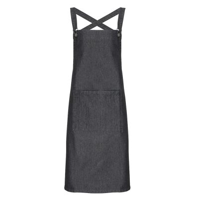 Cross back 'barista' bib apron - Black Denim - Premier