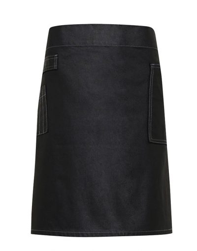 Division waxed-look denim waist apron - Black Denim - Premier