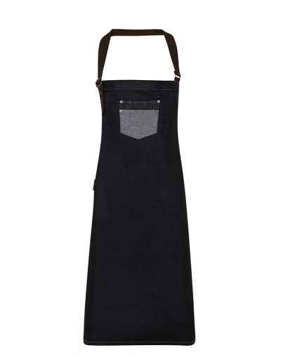 Division waxed-look denim bib apron with faux leather - Black Denim - Premier