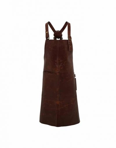 Artisan real leather cross back bib apron - Brown - Premier