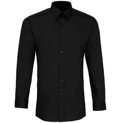 Colours' poplin fitted long sleeve shirt - Black - Premier