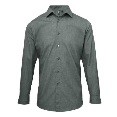 Poplin cross-dye roll sleeve shirt - Grey Denim - Premier