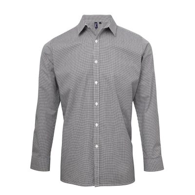 Microcheck (Gingham) long sleeve cotton shirt - Black/White - Premier