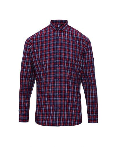 Sidehill check cotton long sleeve shirt - Navy/Red - Premier