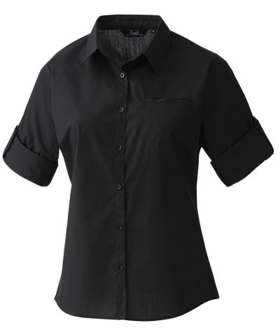 Women's roll sleeve poplin blouse - Black - Premier