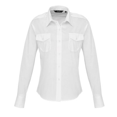 Women's long sleeve pilot shirt - White - Premier