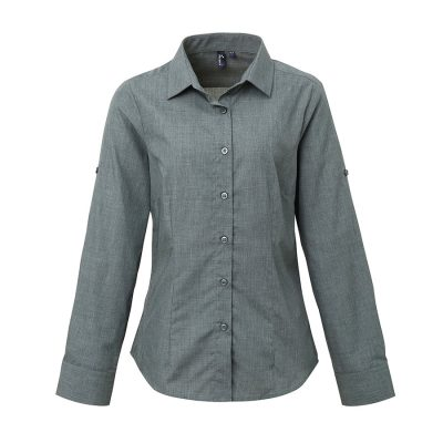Women's poplin cross-dye roll sleeve shirt - Grey Denim - Premier