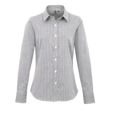 Women's Microcheck (Gingham) long sleeve cotton shirt - Black/White - Premier