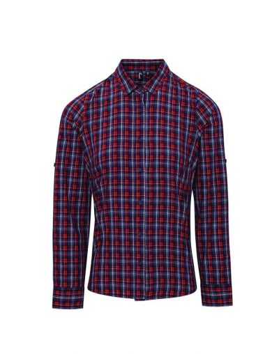 Women's Sidehill check cotton long sleeve shirt - Navy/Red - Premier
