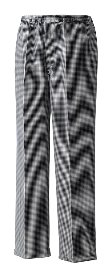 Pull-on chefs trouser - Black/White Check - Premier