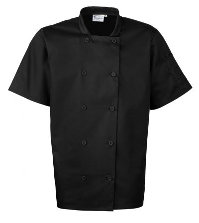 Short sleeved chefs jacket - Black - Premier