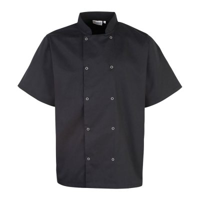 Studded front short sleeve chef's jacket - Black - Premier
