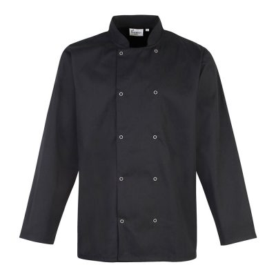 Studded front long sleeve chef's jacket - Black - Premier