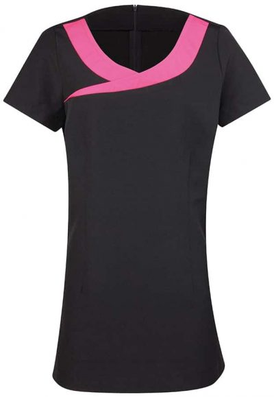 Ivy beauty and spa tunic contrast neckline - Black/Hot Pink - Premier
