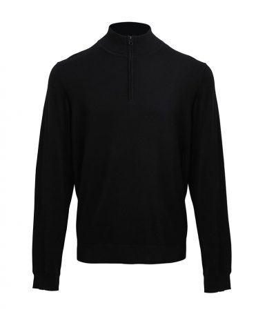 1/4 zip knitted sweater - Black - Premier