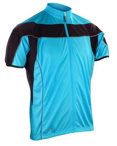 Spiro bikewear full zip top - Aqua/Black - Spiro