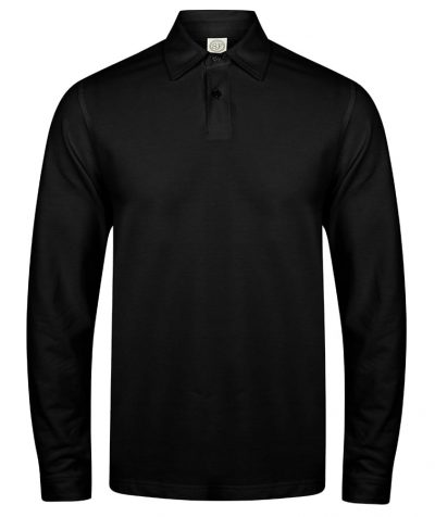 Long sleeve stretch polo - Black - SF