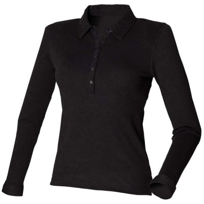 Women's long sleeve stretch polo - Black - SF