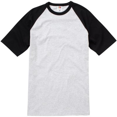 Short sleeve baseball tee - Heather Grey/Black - Fruit of the Loom