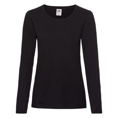 Lady-fit valueweight long sleeve tee - Black - Fruit of the Loom