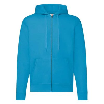 Classic 80/20 hooded sweatshirt jacket - Azure Blue - Fruit of the Loom