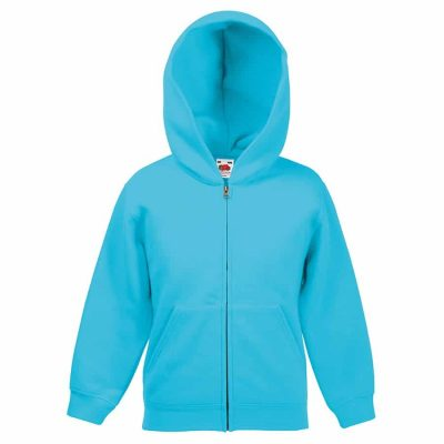 Classic 80/20 kids hooded sweatshirt jacket - Azure Blue - Fruit of the Loom