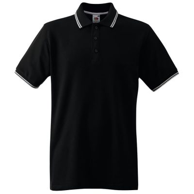 Tipped polo - Black/White - Fruit of the Loom