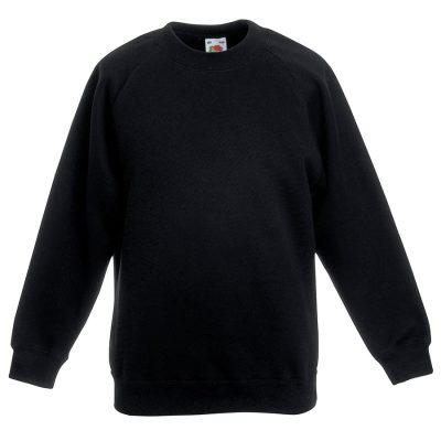 Classic 80/20 kids raglan sweatshirt - Black - Fruit of the Loom