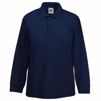Kids long sleeve 65/35 polo - Deep Navy - Fruit of the Loom