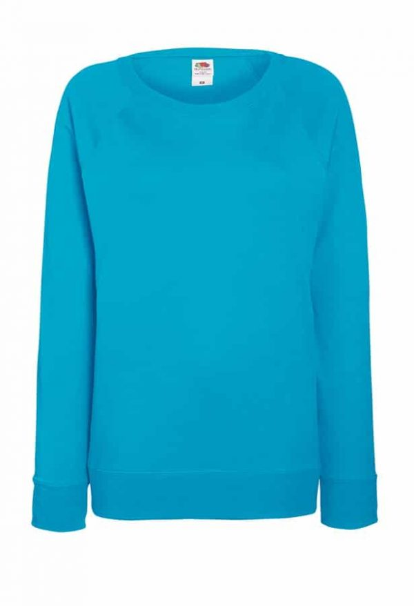 Lady-fit lightweight raglan sweatshirt - Azure Blue - Fruit of the Loom