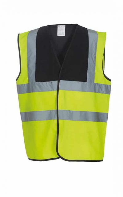 Hi-vis 2-band-and-braces waistcoat (HVW100) - Black Yoke/Yellow - Yoko