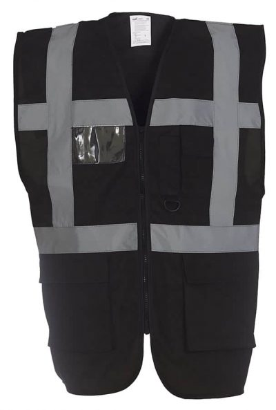 Multi-functional executive hi-vis waistcoat (HVW801) - Black - Yoko