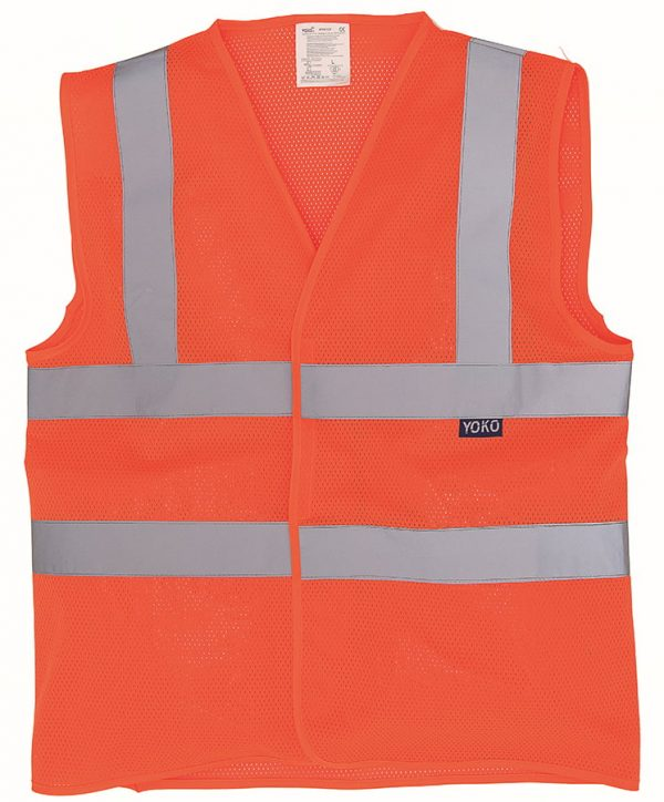 Top cool open mesh 2-band-and-braces waistcoat (HVW120) - Orange - Yoko