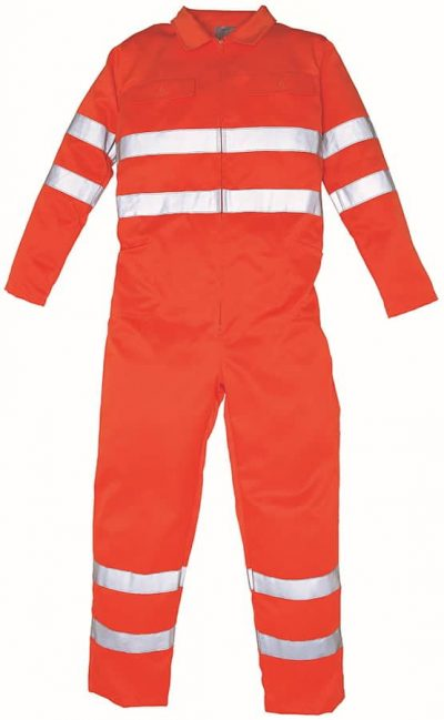 Hi-vis polycotton coverall (HV058) - Orange - Yoko