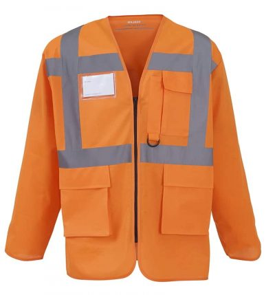 Hi-vis executive long sleeve waistcoat (HVJ800) - Orange - Yoko
