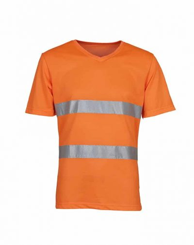 Hi-vis top cool super light v-neck t-shirt (HVJ910) - Orange - Yoko