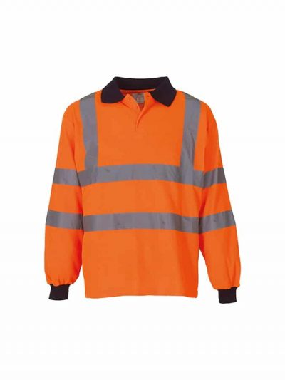 Hi-vis long sleeve polo (HVJ310) - Orange - Yoko