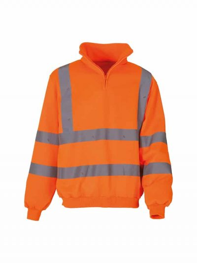 Hi-vis  zip sweatshirt (HVK06) - Orange - Yoko