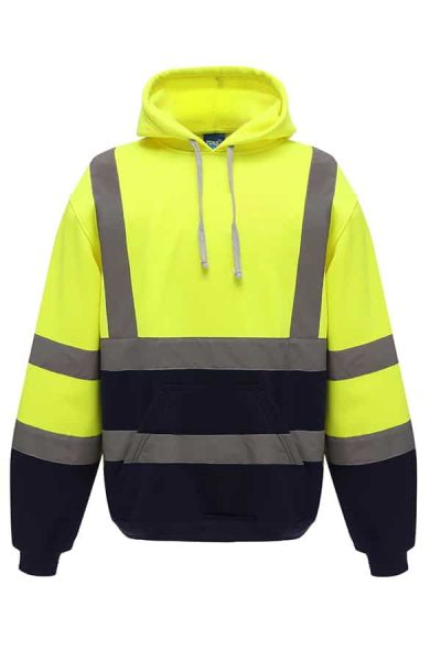 Hi-vis pull-over hoodie (HVK05) - Yellow/Navy - Yoko