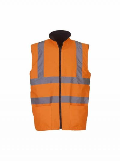Hi-vis reversible fleece bodywarmer (HV008F) - Orange - Yoko