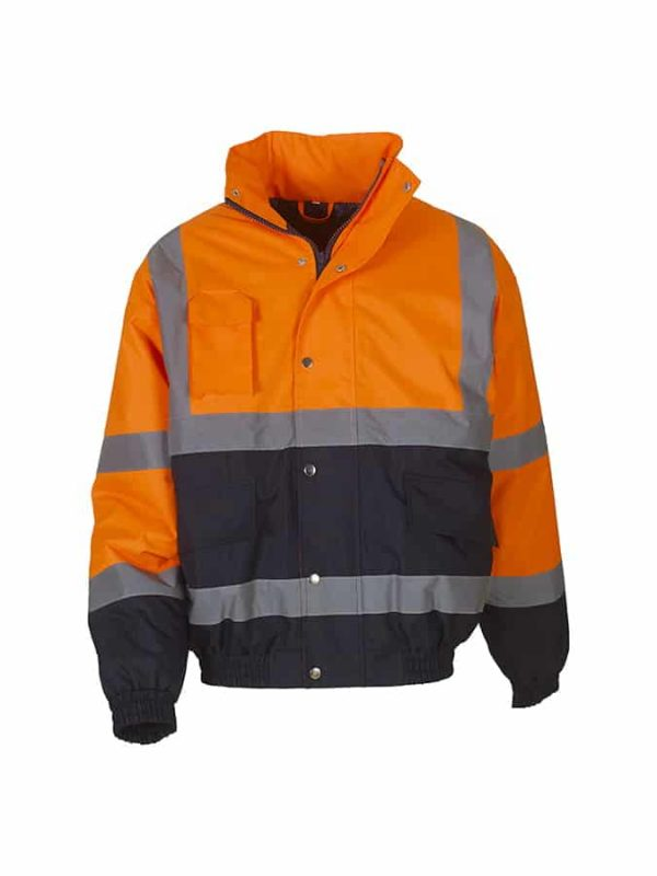 Hi-vis two-tone bomber jacket (HVP218) - Orange/Navy - Yoko