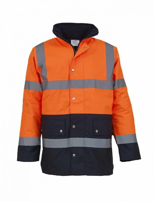 Hi-vis two-tone motorway jacket (HVP302) - Orange/Navy - Yoko