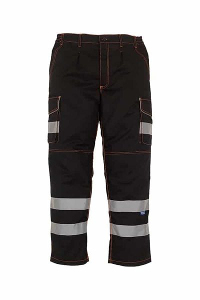 Hi-vis polycotton cargo trousers with knee pad pockets (HV018T/3M) - Black - Yoko