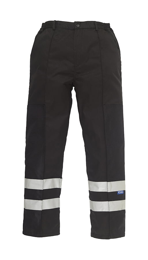 Reflective polycotton ballistic trousers (BS015T) - Black - Yoko